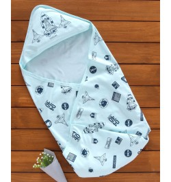 Buy Doreme Hooded Swaddle Wrapper Spaceship Print - Blue Online in India