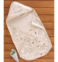 Buy Doreme Hooded Swaddle Wrapper Teddy Print - Beige Online in India