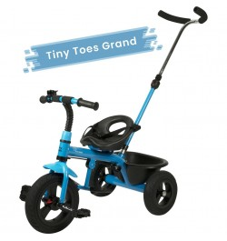 R for Rabbit Tiny Toes Grand - The Smart Plug and Play Baby Tricycle with Rubber Wheels (Blue)