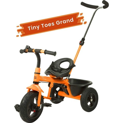 R for Rabbit Tiny Toes Grand - The Smart Plug and Play Baby Tricycle with Rubber Wheels (Orange)