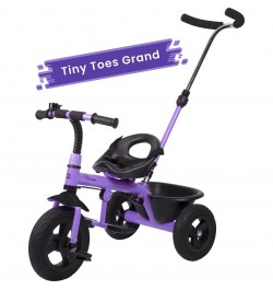 R for Rabbit Tiny Toes Grand - The Smart Plug and Play Baby Tricycle with Rubber Wheels (Purple)