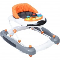 R for Rabbit Ringa Ringa - The Anti Fall Baby Walker Cum Rocker with Adjustable Height and Musical Toy Bar (Orange White)