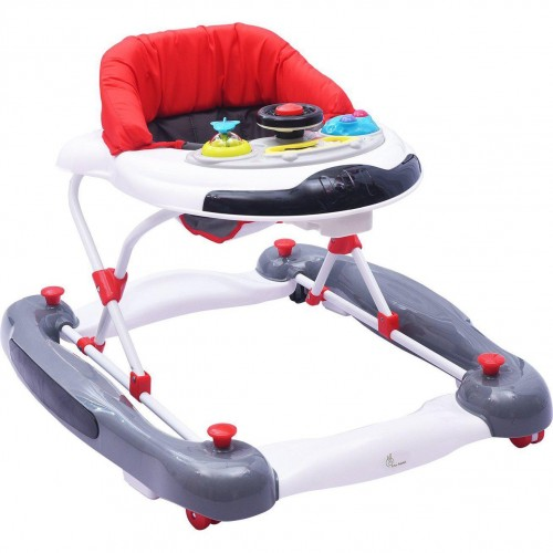 R for Rabbit Ringa Ringa - The Anti Fall Baby Walker Cum Rocker with Adjustable Height and Musical Toy Bar (Red White)