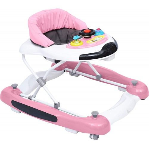 R for Rabbit Ringa Ringa - The Anti Fall Baby Walker Cum Rocker with Adjustable Height and Musical Toy Bar Pink White