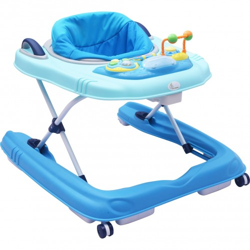 R for Rabbit Zig Zag Grand - The Anti Fall 3 in 1 Baby Walker Cum Push Walker for Babies with Adjustable Height and Musial Toy Bar (Blue)