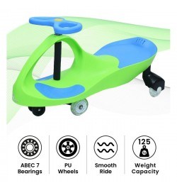 R for Rabbit Iya Iya Swing Car for Kids- Smooth & Strong Baby Magic/Twister Car for Babies (Green Blue)