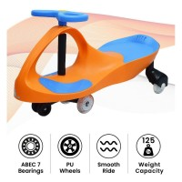 R for Rabbit Iya Iya Swing Car for Kids- Smooth & Strong Baby Magic/Twister Car for Babies (Orange Blue)