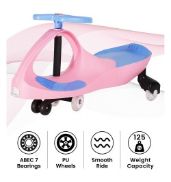 R for Rabbit Iya Iya Swing Car for Kids- Smooth & Strong Baby Magic/Twister Car for Babies (Pink Blue)