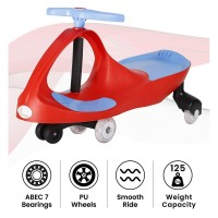 R for Rabbit Iya Iya Swing Car for Kids- Smooth & Strong Baby Magic/Twister Car for Babies (Red Blue)