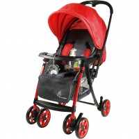R for Rabbit Poppins Plus Pram- Baby Stroller and Pram for Baby with Mosquito Net and Hanging Toy (Red Grey)