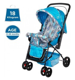 Mee Mee Adjustable Seat Baby Pram with Reversible Handle (Light Blue)