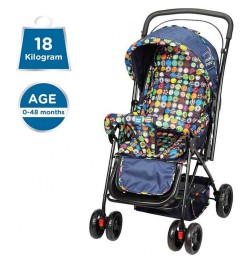 Mee Mee Adjustable Seat Baby Pram with Reversible Handle (Navy Blue)