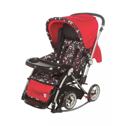 Mee Mee Premium Baby Pram with Rocker Function (Red)