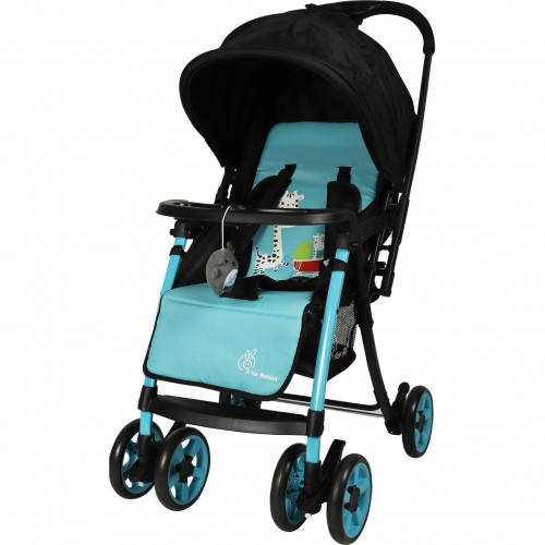 R for Rabbit Poppins Plus Pram- Baby Stroller and Pram for Baby with Mosquito Net and Hanging Toy (Blue Black)