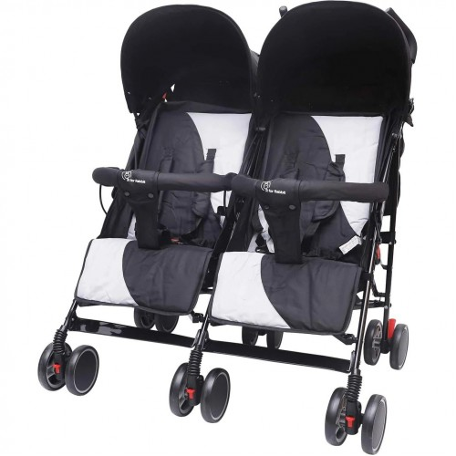R for Rabbit Ginny and Johnny Twin Stroller – The Compact Twin Stroller for Twins (Black Grey)