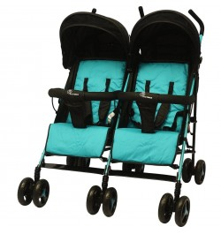 R for Rabbit Ginny and Johnny Twin Stroller – The Compact Twin Stroller for Twins (Blue Black)
