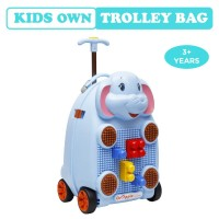 R for Rabbit Orapple Kids Trolley Bags - Cute 18 inch Travel Bags for Kids with Blocks (Blue)