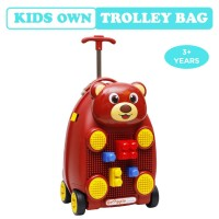 R for Rabbit Orapple Kids Trolley Bags - Cute 18 inch Travel Bags for Kids with Blocks Maroon))