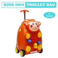 R for Rabbit Orapple Kids Trolley Bags - Cute 18 inch Travel Bags for Kids with Blocks (Orange)