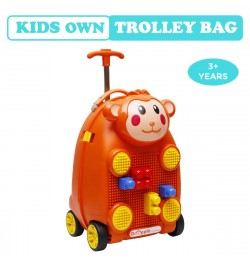 Buy R for Rabbit Orapple Kids Trolley Bags - Cute 18 inch Travel Bags for Kids with Blocks (Orange) Online in India