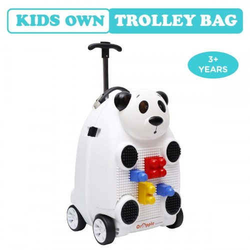 R for Rabbit Orapple Kids Trolley Bags - Cute 18 inch Travel Bags for Kids with Blocks (White)