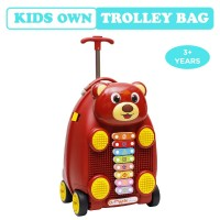 R for Rabbit Orapple Kids Trolley Bags - Cute 18 inch Travel Bags for Kids with Xylophone (Maroon)