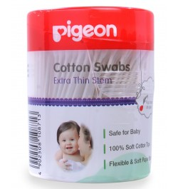 Pigeon Cotton Swabs Thin Stem, 200Pcs/Hinged Case