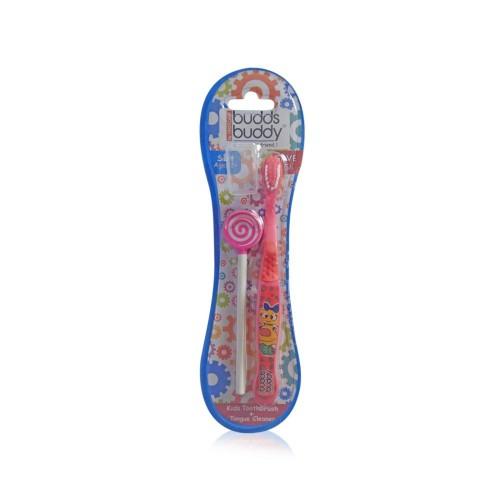 Buddsbuddy Kids Toothbrush + Tongue Cleaner (Red)