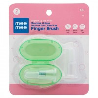 Mee Mee Unique Tooth & Gum Cleaning Finger Brush (Pack of 2, Green)