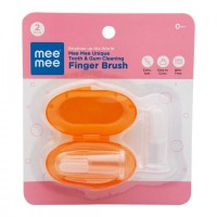 Mee Mee Unique Tooth & Gum Cleaning Finger Brush (Pack of 2, Orange)