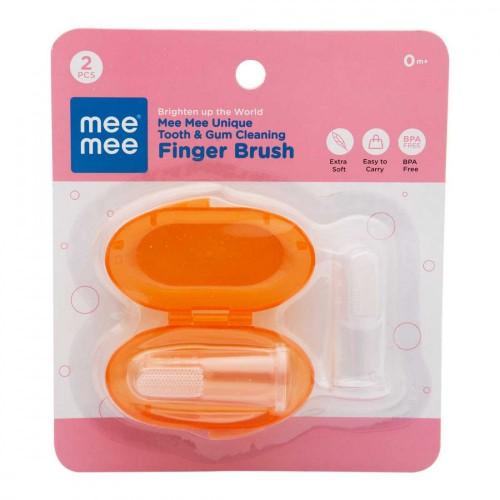 Mee Mee Unique Tooth & Gum Cleaning Finger Brush (Pack of 2, Orange)