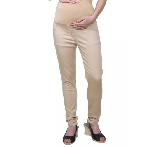 Mee Mee Maternity Pants with Tummy Support Rib & Pockets, Beige (Size - XL)