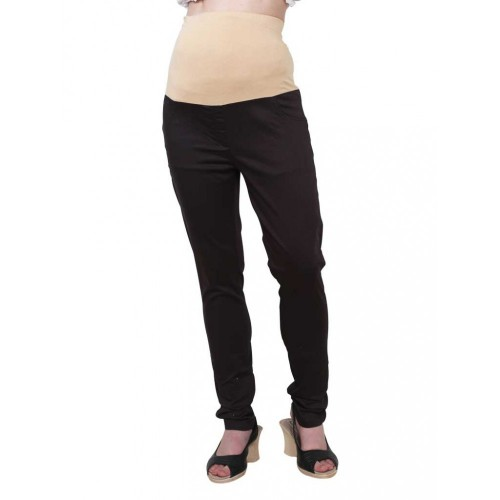 Mee Mee Maternity Pants with Tummy Support Rib & Pockets, Black (Size - L)