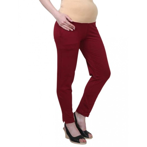Mee Mee Maternity Pants with Tummy Support Rib & Pockets, Wine (Size - L)
