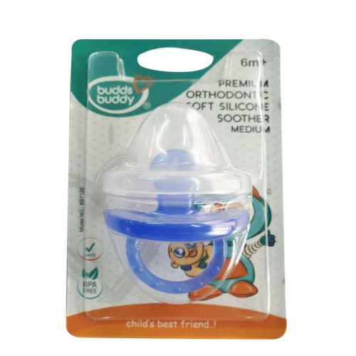 Buddsbuddy Premium Orthodontic Soft Silicone Soother, Medium, Blue
