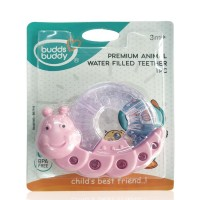 Buddsbuddy Premium CaterPiller Shaped Water Filled Teether 1Pc, PinkWhite