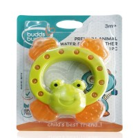 Buddsbuddy	Premium Frog Shaped Water Filled Teether 1Pc, GreenOrange