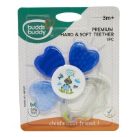 Buddsbuddy	Premium Hard & Soft Teether, Blue