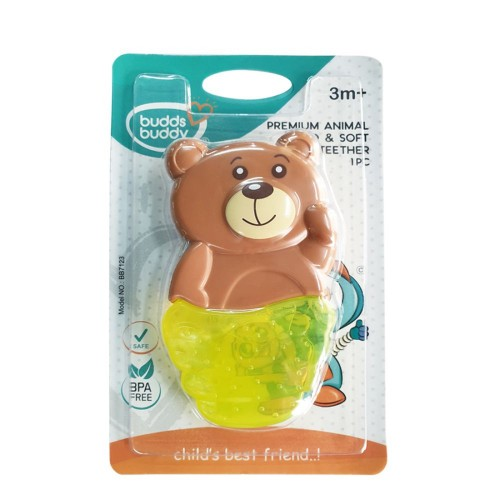 Buddsbuddy Premium Panda Shaped Hard & Soft Water Filled Teether 1Pc, BB7123, Green