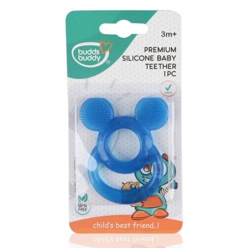 Buddsbuddy Premium Silicon Baby Teether 1Pc, Blue