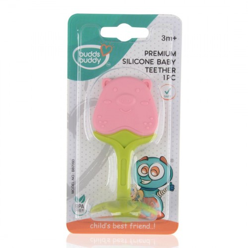 Buddsbuddy Premium Silicon Baby Teether 1Pc, Pink&Green