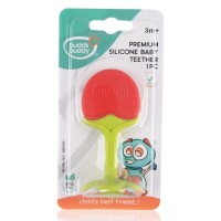 Buddsbuddy Premium Silicon Baby Teether 1Pc, Red&Green