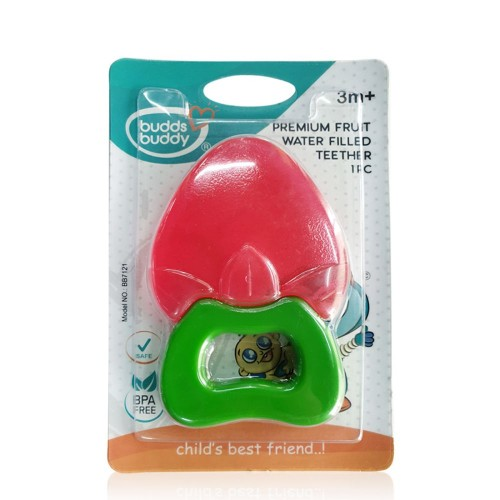 Buddsbuddy Premium StrawBerry Fruit Shaped Water Filled Teether 1Pc
