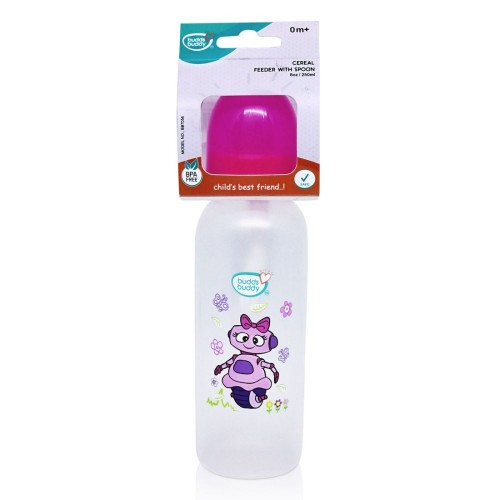 Buddsbuddy Cereal Feeder with Spoon, 250ml, Pink