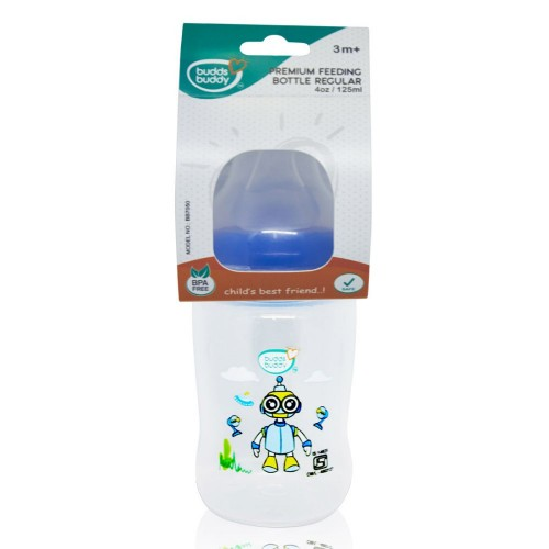 Buddsbuddy Premium Feeding Bottle Regular, 125ml, Blue