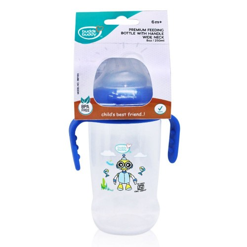 Buddsbuddy Premium Feeding Wide neck Bottle with Handle, 250ml, Blue