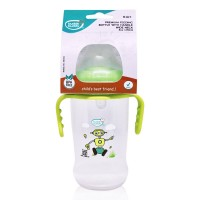 Buddsbuddy Premium Feeding Wide neck Bottle with Handle, 250ml, Green