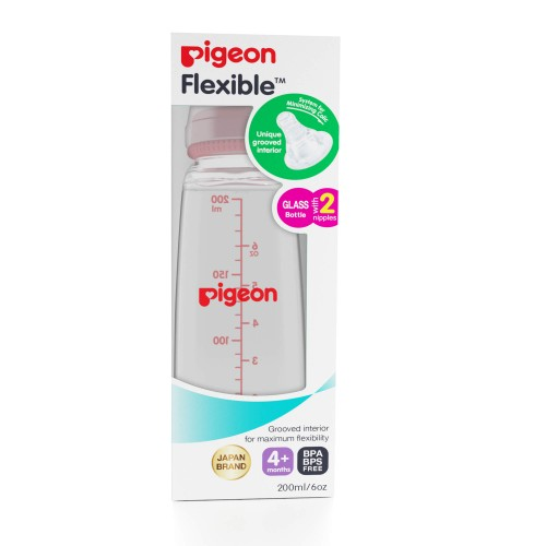 Pigeon Glass Feeding Bottle 200ml/4M (Pink)