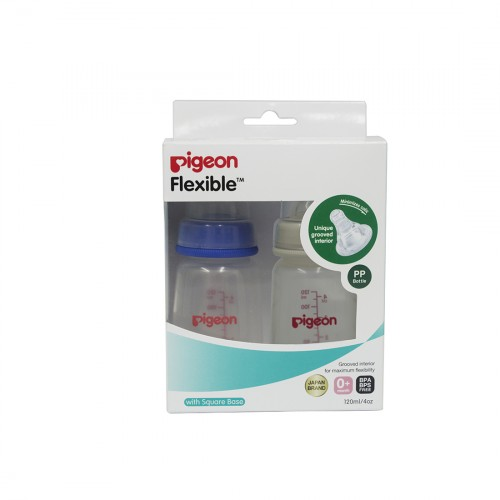 Pigeon Peristaltic Nursing Bottle Twin Pack Kpp 120Ml (Blue & White) Nipple S