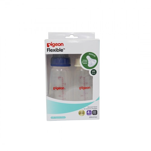 Pigeon Peristaltic Nursing Bottle Twin Pack Kpp 200Ml (Blue & White) Nipple M